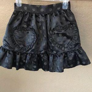 Betsey Johnson black satin polka dot skirt